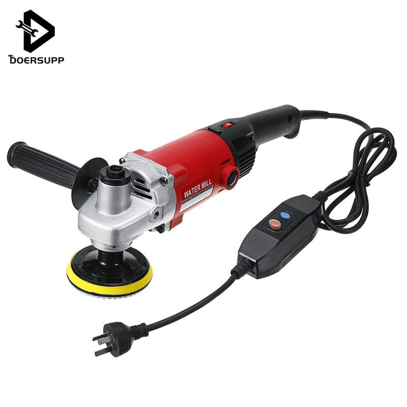 Doersupp 1400W 220V Hand WET Stone Polisher Grinder Diamond Polishing Grit Pads Concrete Marble Granite