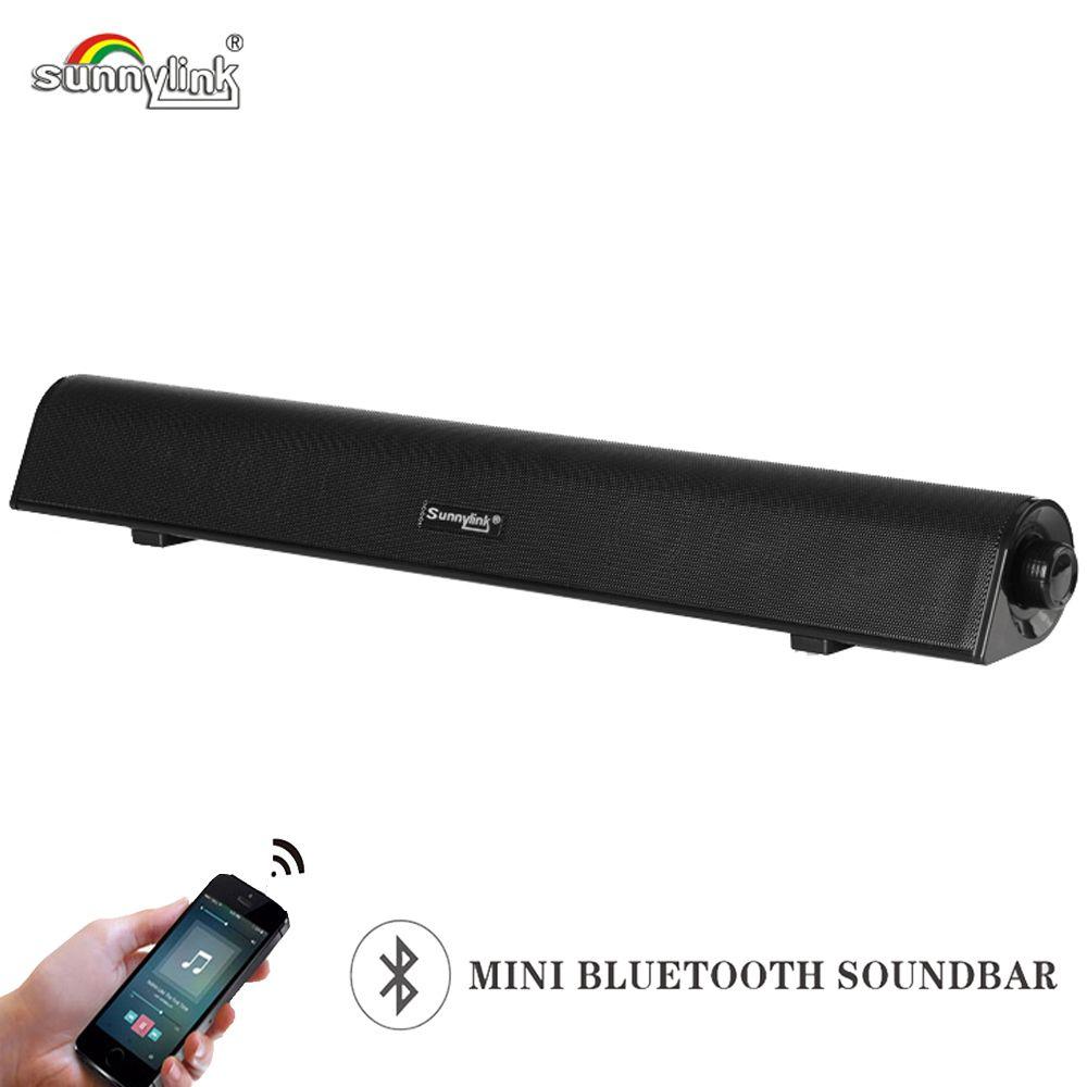 Haut-parleur de barre de son Bluetooth sans fil HiFi pour ordinateurs, barre de son bluetooth 10 Watts, entrées Audio/Aux Bluetooth 3 Modes/USB