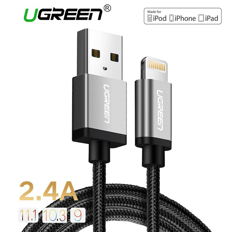 Ugreen 2.4A MFi Lightning to USB Cable for iPhone 7 6 5 Fast Charger USB Data Cable for iPhone 8 X 5 5S iPad iPod Charging Cord