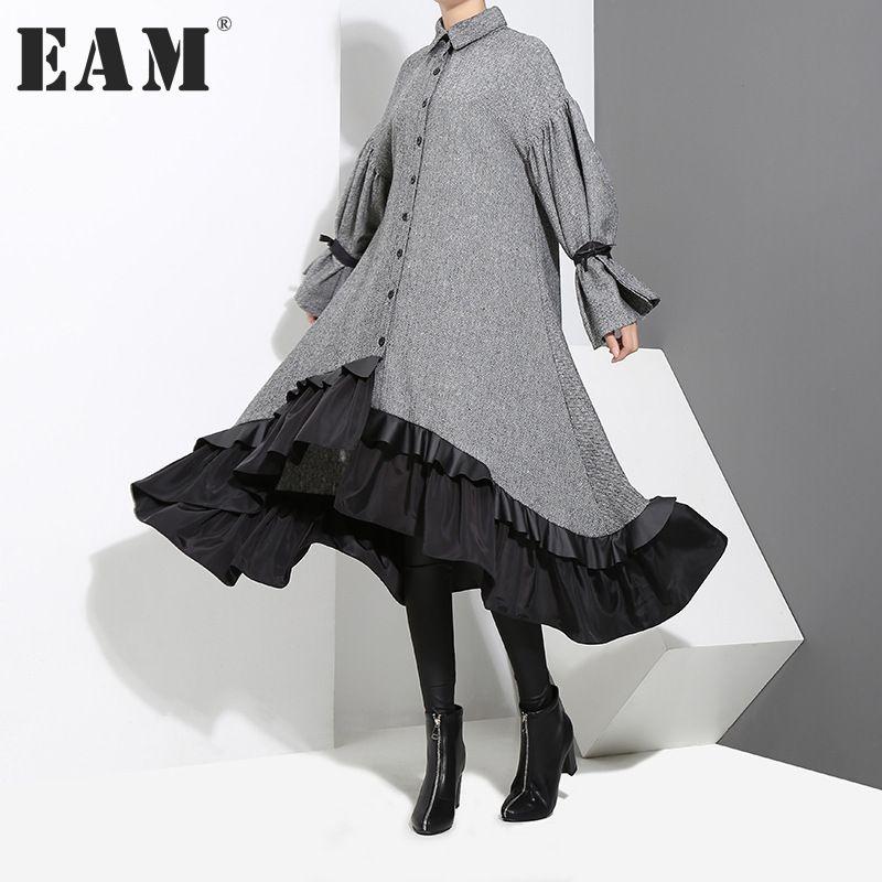 [EAM] 2018 New Spring Lapel Long Sleeve Bandage Solid Color Gray Big Hem Irregular Loose Dress Women Fashion Tide JD717