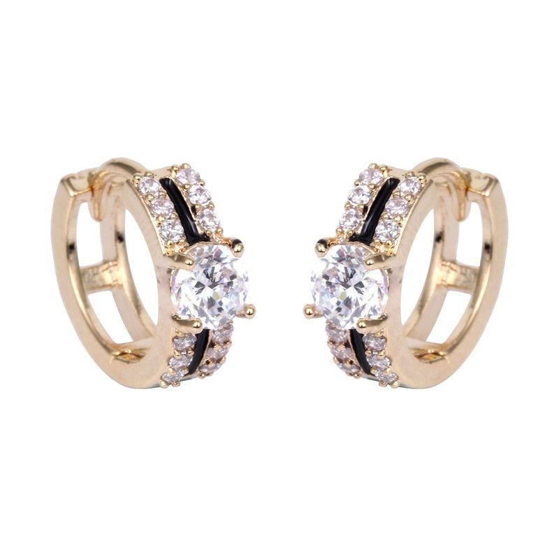 2017 caliente mejor venta moda circón teselación anillo joyas ol estilo boda pendientes de oro o de plata
