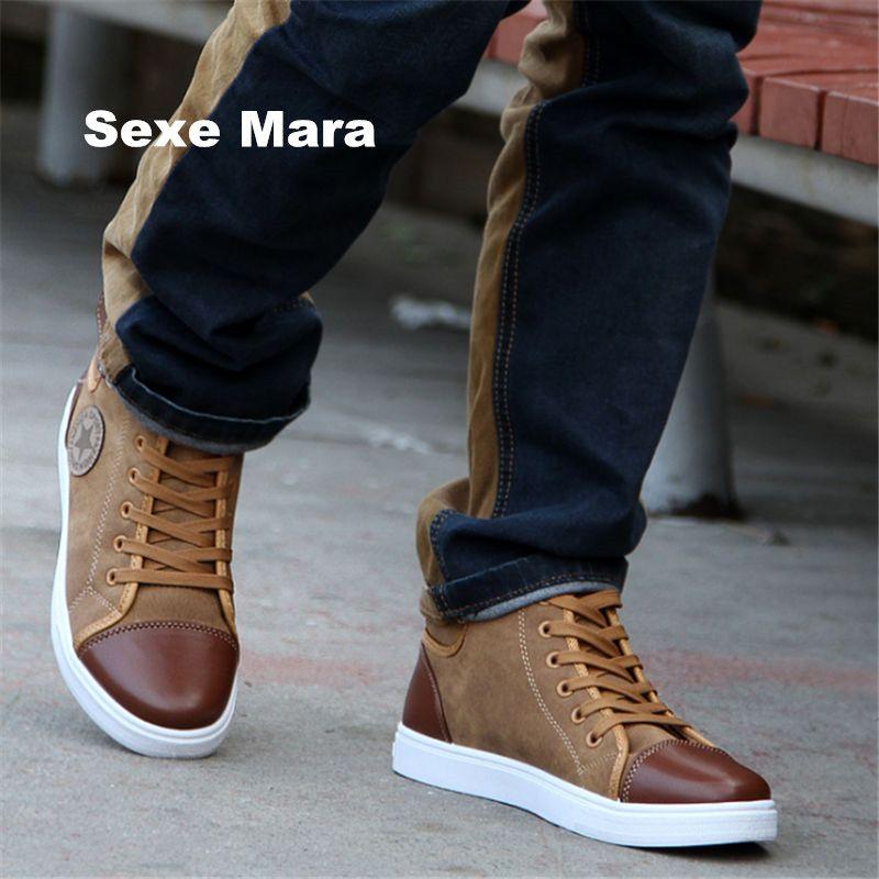 New fashion casual men shoes men High help leather Flat canvas shoes Couple Outdoor joker zapatos mujer zapatos hombre EU 38-47