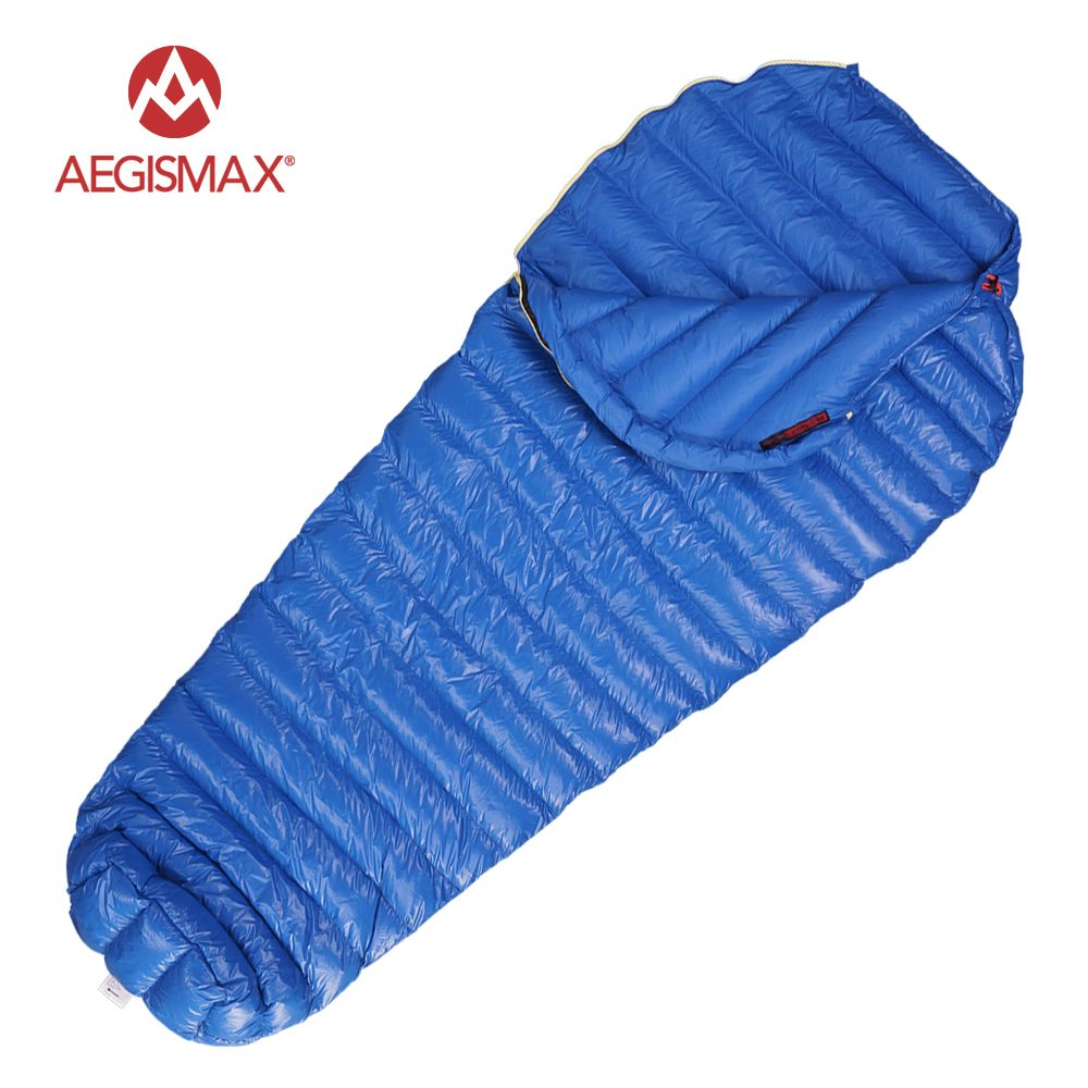 AEGISMAX M2 Filling 380g/420g 800FR Outdoor Ultralight Mummy Type White Goose Down Camping Winter Sleeping Bag