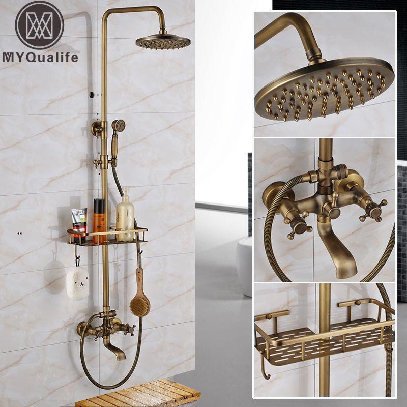 Antique Brass Wall Mounted Bathtub <font><b>Shower</b></font> Set Faucet Dual Handle with Commodity Shelf Bathroom <font><b>Shower</b></font> Mixers 8 Rainfall
