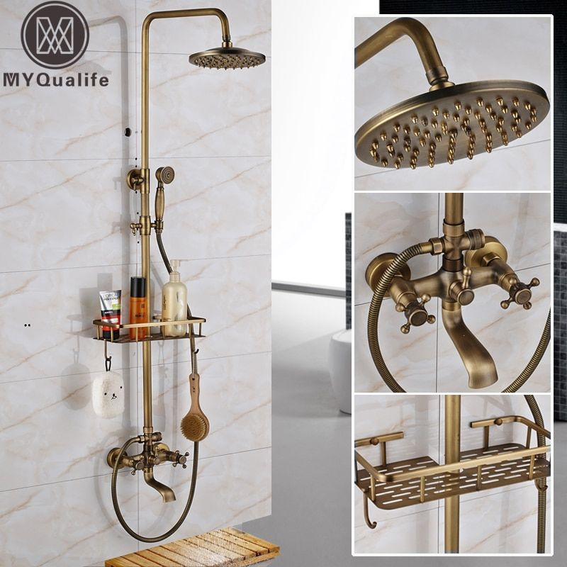 Antique Brass <font><b>Wall</b></font> Mounted Bathtub Shower Set Faucet Dual Handle with Commodity Shelf Bathroom Shower Mixers 8 Rainfall
