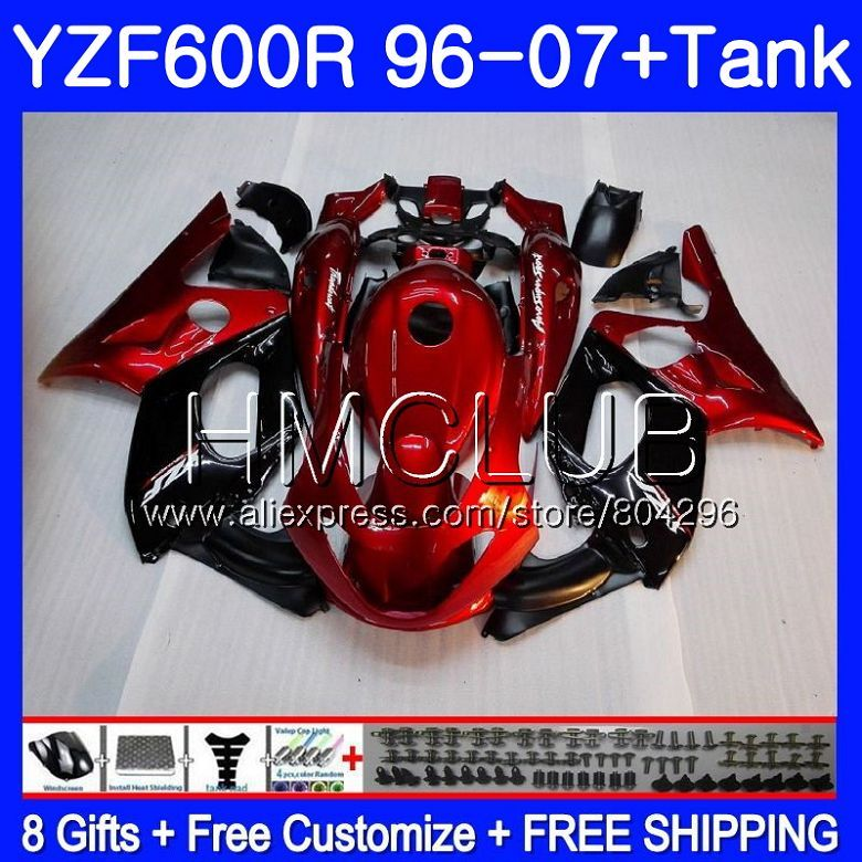 Kit Perle rot blk Für YAMAHA Thundercat YZF600R 96 97 98 99 00 01 99HM11 YZF 600R YZF-600R 1996 1997 1998 1999 2000 2001 verkleidung