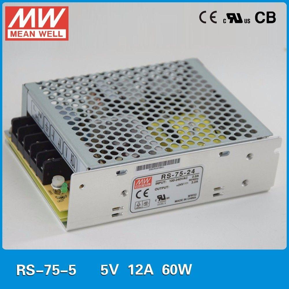Meanwell RS-75 Single Output Power Supply 75W 3.3V/15A 5V/12A 12V/6A 15V/5A 24V/3.2A 48V/1.6A 88-264VAC 125-373VAC SMPS CE