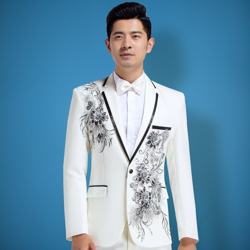 PYJTRL Male Fashion Beige White Crystal Floral Embroidered Mens Suits Wedding Stage Singer Slim Fit Costume Homme Tuxedo