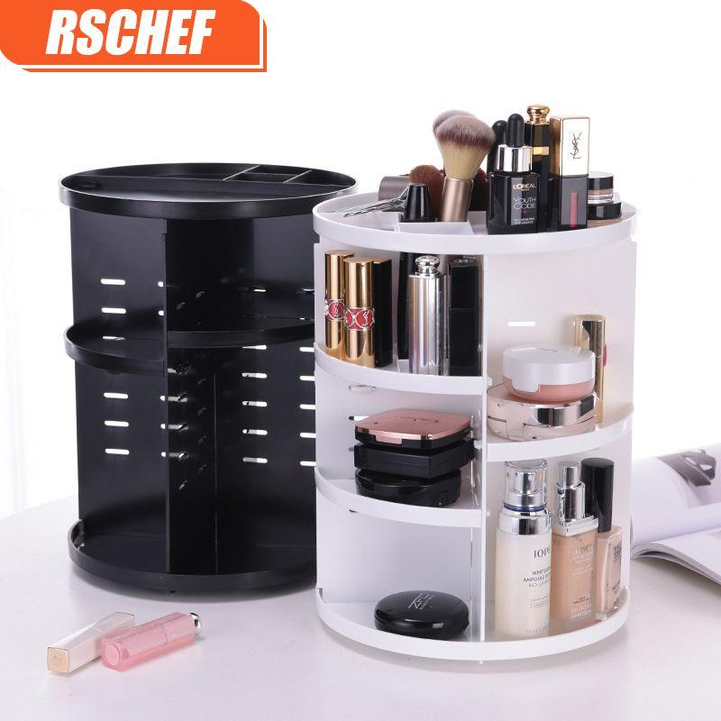 [Vidéo] mode 360 degrés rotatif maquillage organisateur boîte porte-brosse bijoux organisateur Case bijoux maquillage cosmétique boîte de rangement