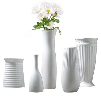 Classic White Ceramic Vase Chinese Arts And Crafts Decor Contracted Porcelain Flower Vase Creative Gift Household Decoration