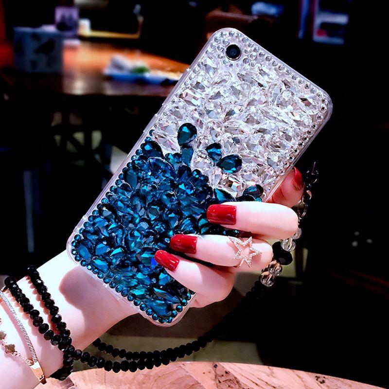 Für Samsung Galaxy S9 Bling Diamant-kasten Strass Stein Jeweled Abdeckung Fall Für Samsung Galaxy S9 Plus Mit Perle Lanyard