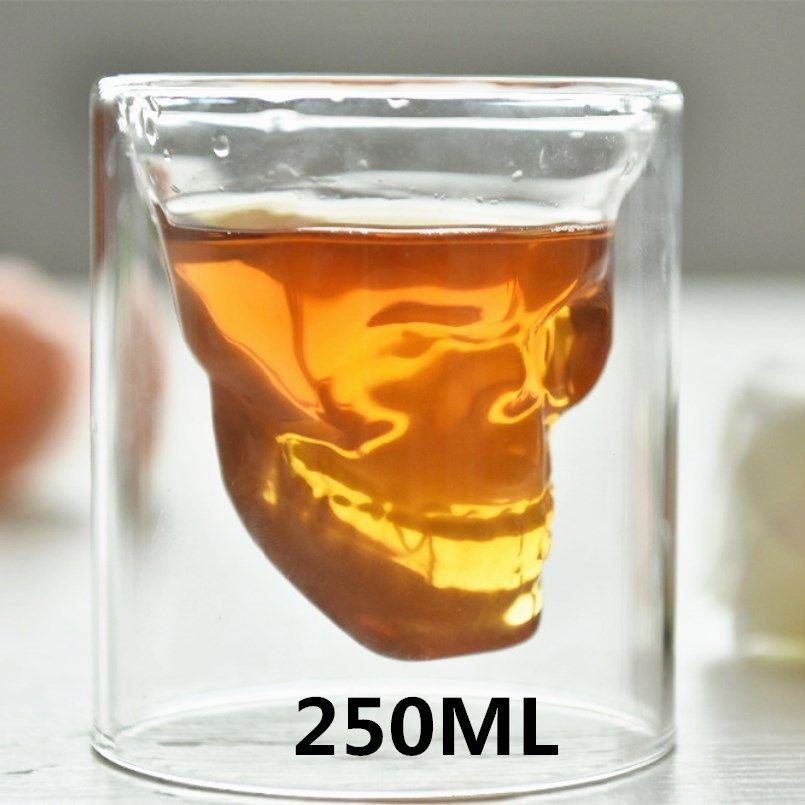 Creative 250 ml Designer Tête de Crâne En Verre Transparent Fun Condamné partie Doo verre vaso mon bootle copo verre de bière vin tasse