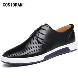COSIDRAM Hollow Outs Genuine Leather Men Shoes New 2018 Summer Fashion Men Casual Shoes For Male Sneakers RME-336