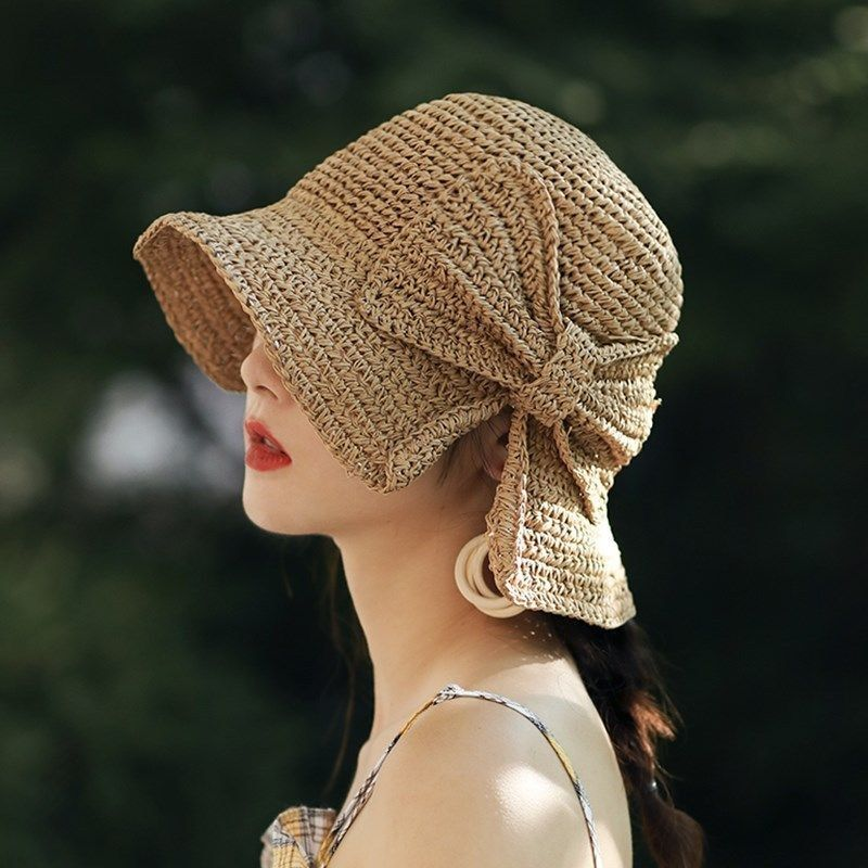Parent-child 100%Raffia Bow Sun Hat Wide Brim Floppy Summer Hats For Women Beach Panama Straw Dome Bucket Hat Femme Shade Hat