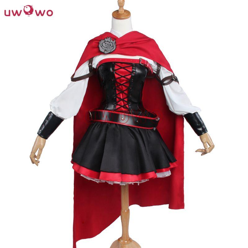 UWOWO Rubin Rose RWBY Cosplay Rot Kleid Mantel Schlacht Uniform Kostüm Anime RWBY Ruby Rose Cosplay Kostüm Frauen