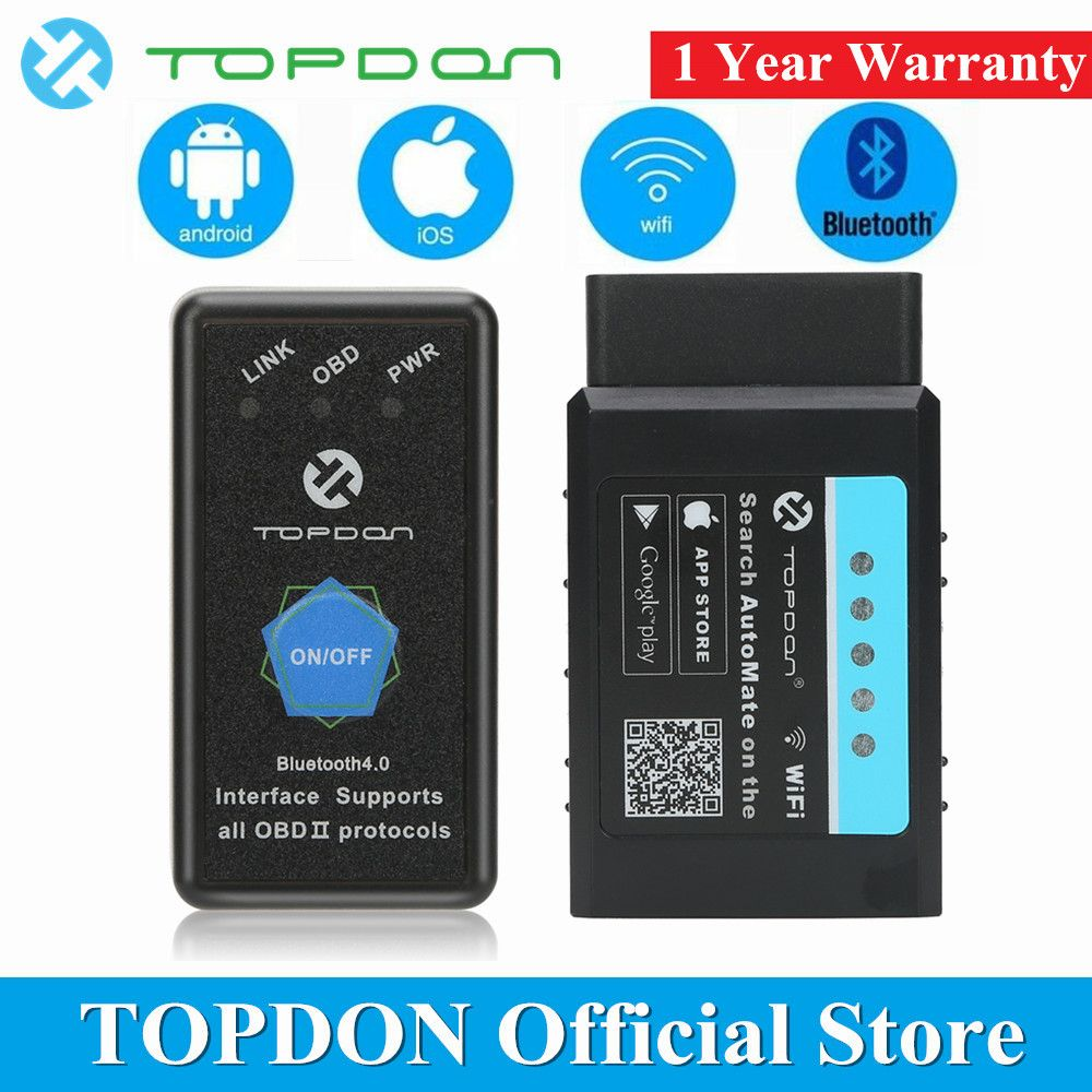 TOPDON AutoMate ELM327 Bluetooth V1.5 WIFI pic18f25k80 OBD2 Scanner Automotive OBDII Full Function Diagnostic Tool Code Reader