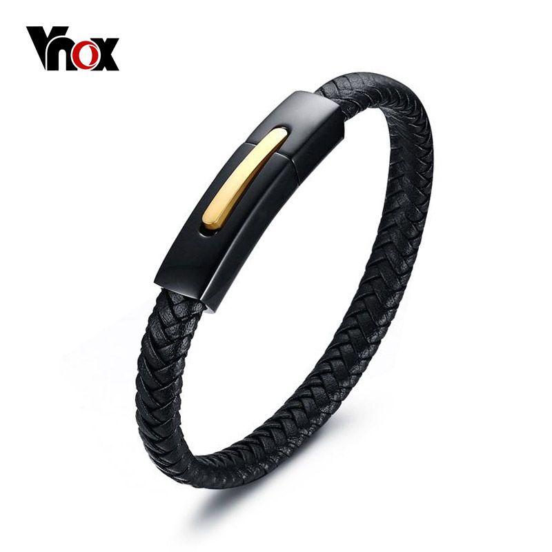 Vnox High Quality Genuine Leather Bracelet Bangle Brand Jewelry Black Stainless Steel for Women / Men