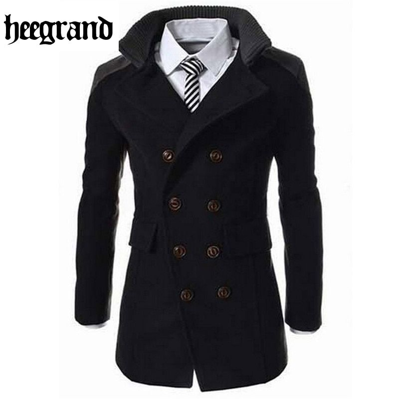 HEE GRAND 2016 Fashion Men's Autumn Winter Coat Turn-down Collar Wool Blend Men Pea Coat Double Breasted Winter Overcoat MWN113