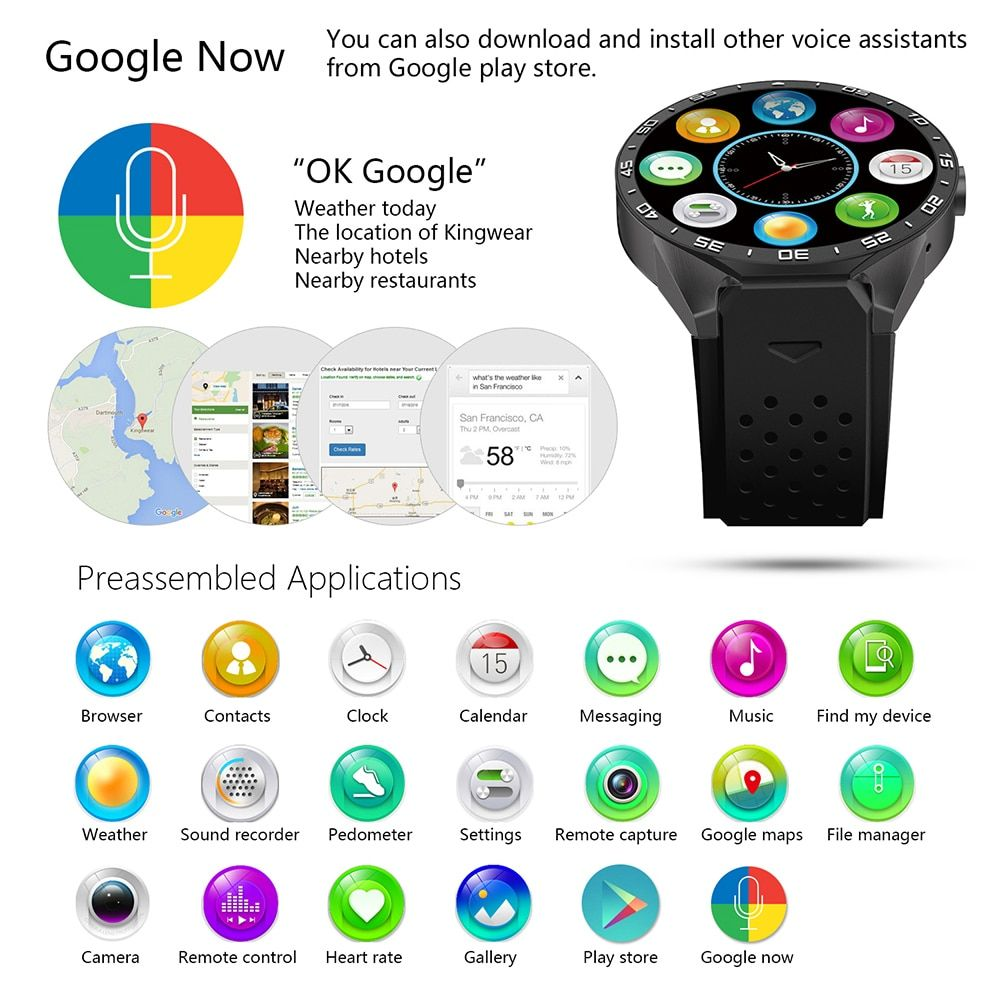 3G WiFi gps bluetooth Smart Watch Android 5.1 mtk6580 CPU 1.39 pulgadas 2.0mp Cámara smartwatch para iPhone Huawei reloj teléfono