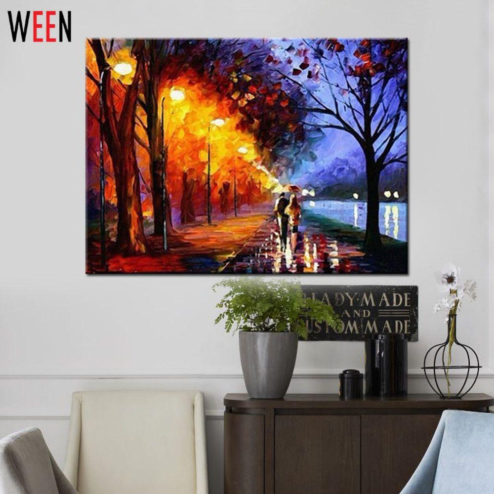 Paysage sans cadre photos par numéros pleuvoir marche bricolage peinture à l'huile numérique coloriage par numéros toile Art pour la décoration intérieure