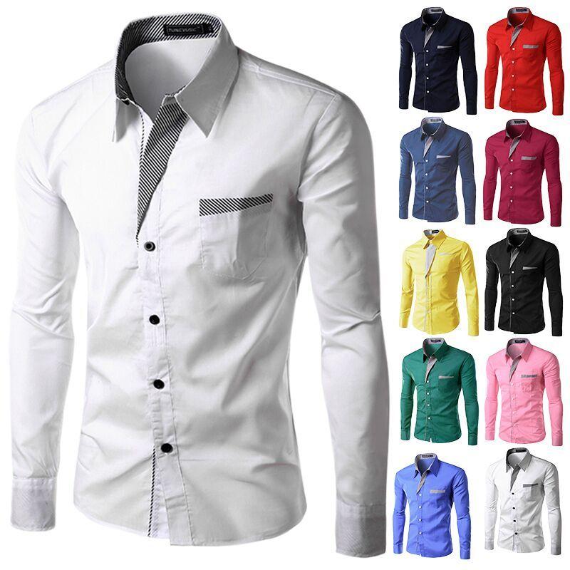 2017, Новая мода Марка камиза masculina рубашка с длинными рукавами Для мужчин корейские узкие Дизайн Формальные Повседневное мужской рубашки Раз...