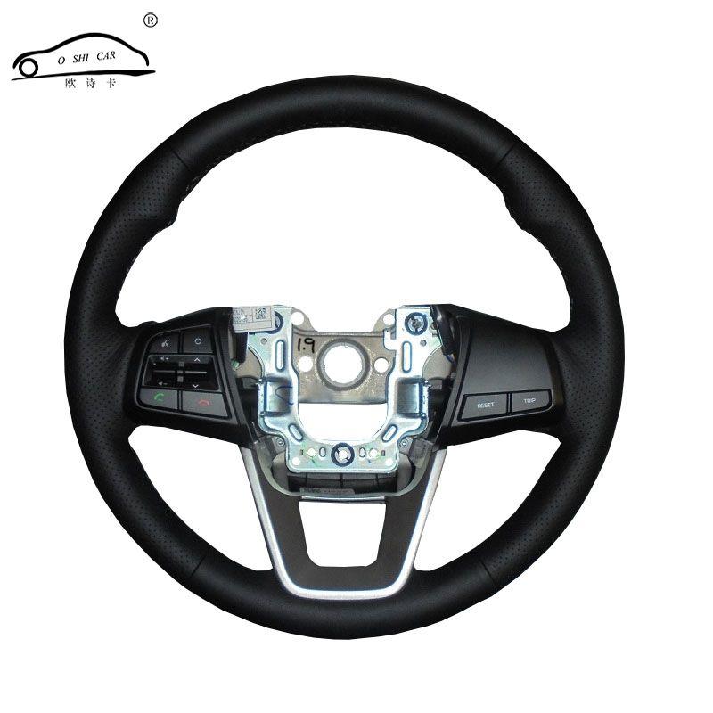 Couvre-volant de voiture en cuir artificiel pour Hyundai ix25 2014 2015 2016 Creta 2016 2017/volant dédié sur mesure