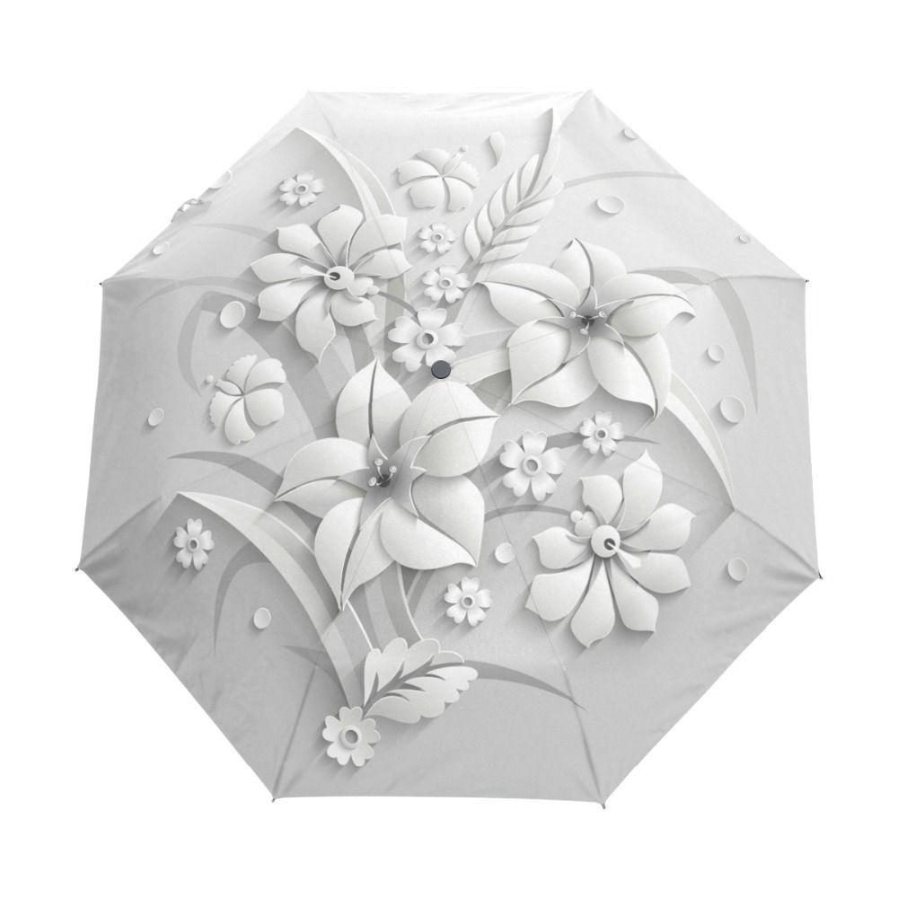 Entièrement automatique 3D Floral Guarda Chuva blanc chinois parasol 3 pliant parapluie pluie femmes Anti UV extérieur voyage Sombrinha