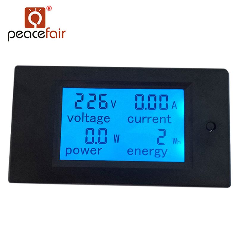 Peacefair AC Single Phase Digital LCD Ammeter Voltmeter 80-260V 20A 4IN1 Electric <font><b>Volt</b></font> Amp Megter Power Kwh For Homekit PZEM-021