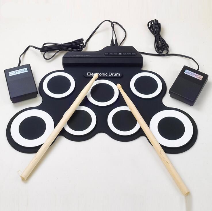 Professional 7 Pads Portable Digital USB Roll up Foldable Silicone Electronic Drum Pad Kit With DrumSticks Foot Pedal
