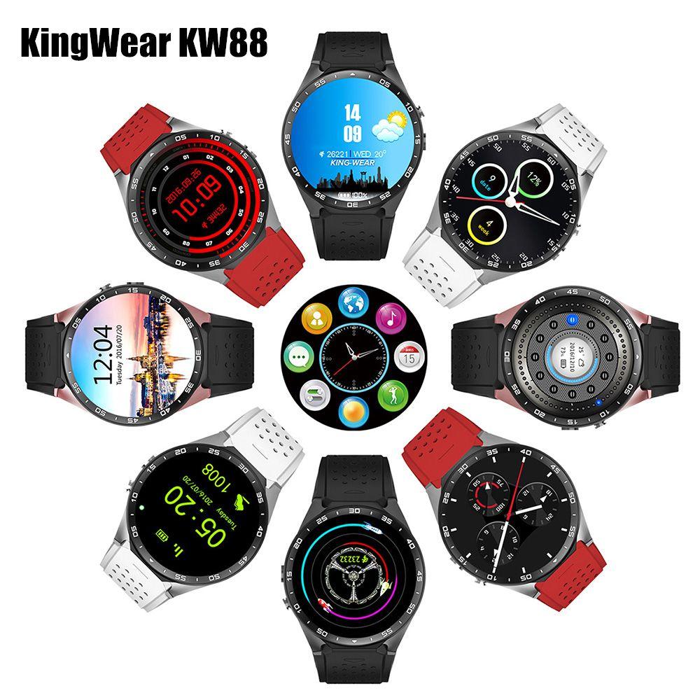 KingWear KW88 Android 5.1 Smartwatch 3G Bluetooth Wifi Smart Watch Phone MTK6580 Quad Core 512MB RAM 4GB ROM GPS Gravity Sensor
