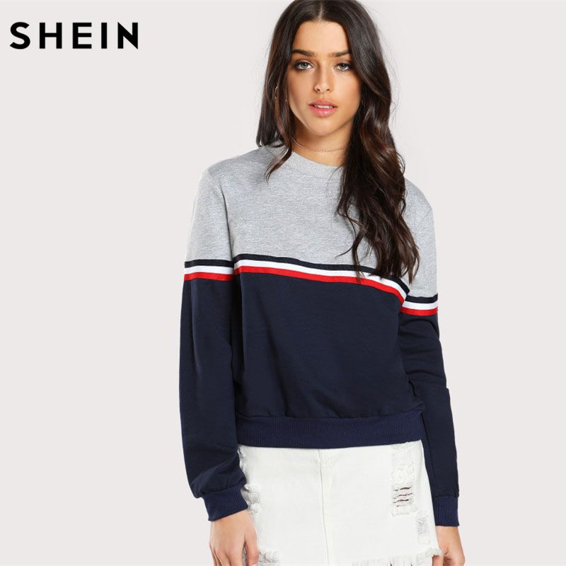 SHEIN Striped Woven <font><b>Tape</b></font> Detail Two Tone Sweatshirt Women Casual Pullovers Color Block Long Sleeve Sweatshirts