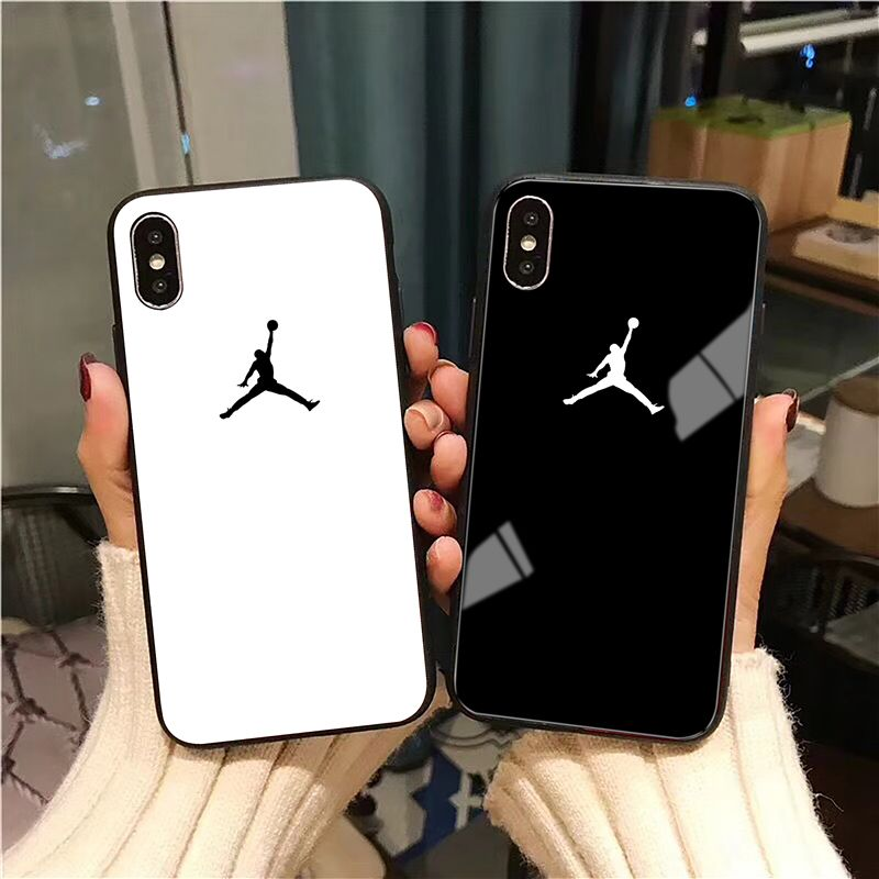 Air 23 Flyman Jordan Case For iPhone X Xs Max Xr 8 7 6 6s Plus 10 Luxury Sports Simple Glossy Tempered Glass Phone Cover Coque