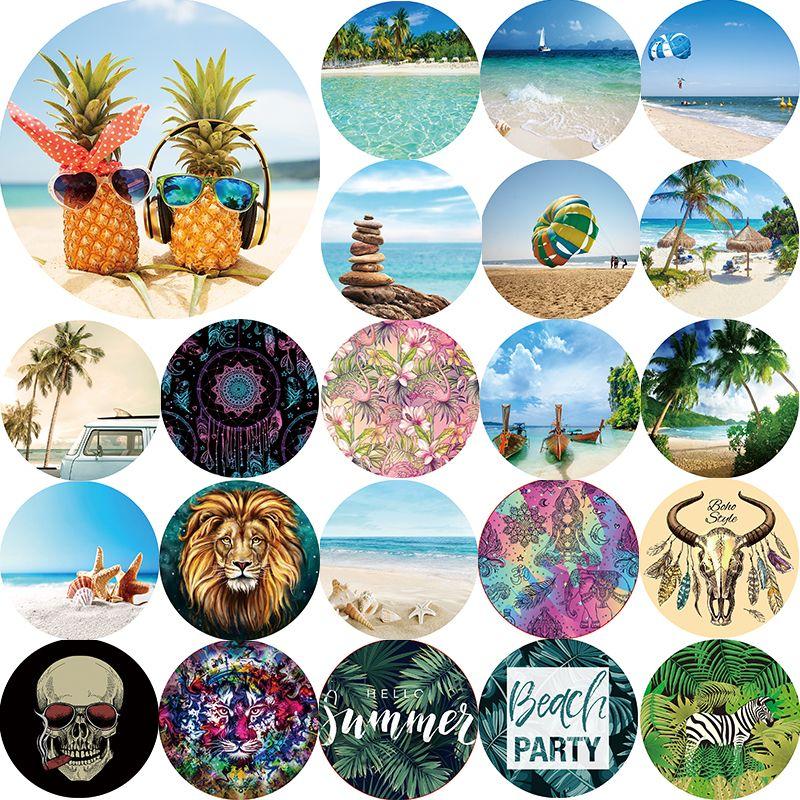 Hot sale summer landscape tiger lion mandala beach towel pineapple hello summer Round beach towel size 1500*1500mm