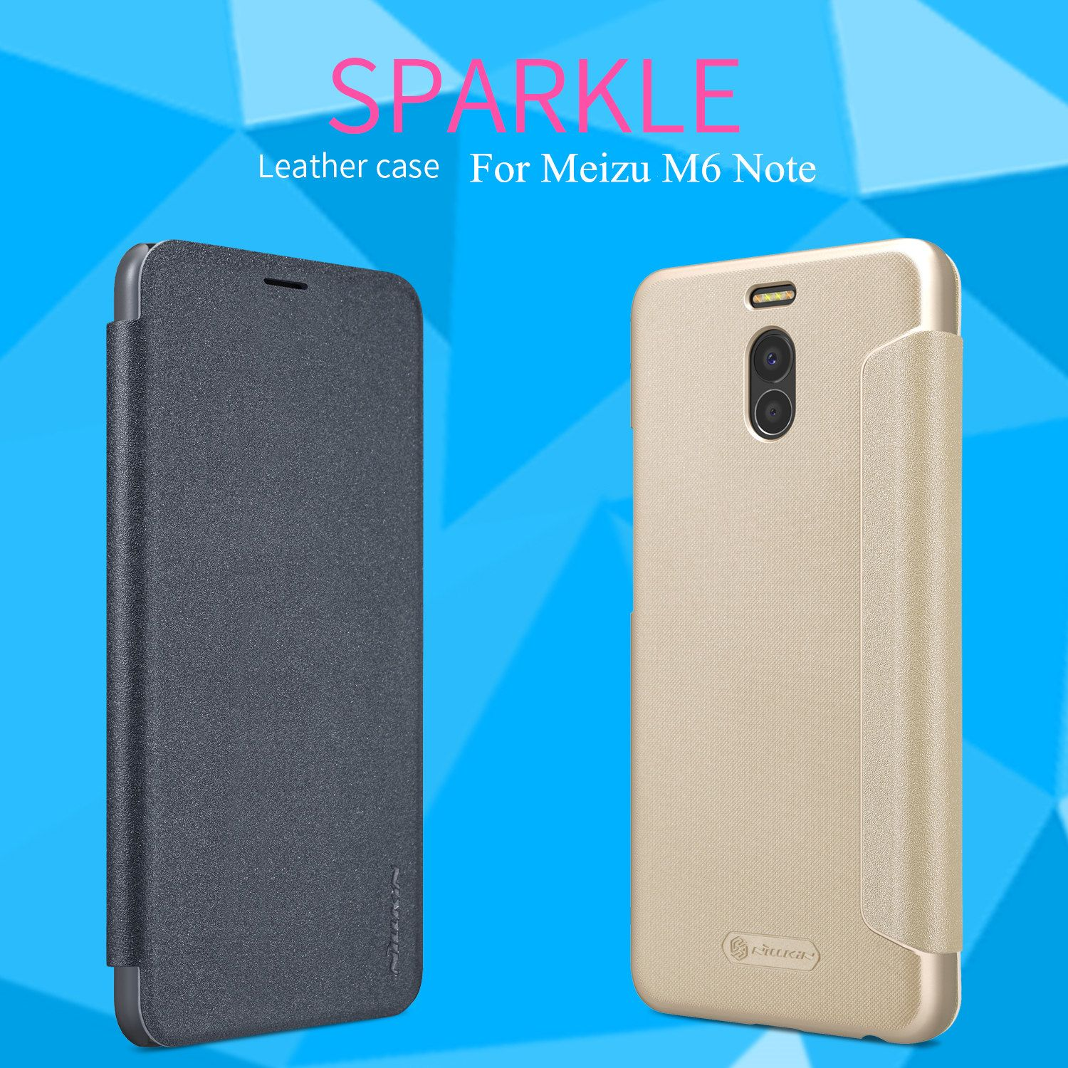 NILLKIN Sparkle Leather Flip Case for Meizu M6 Note Leather Case & PC Plastic Back Cover for Meizu M6 Note Phone Bag