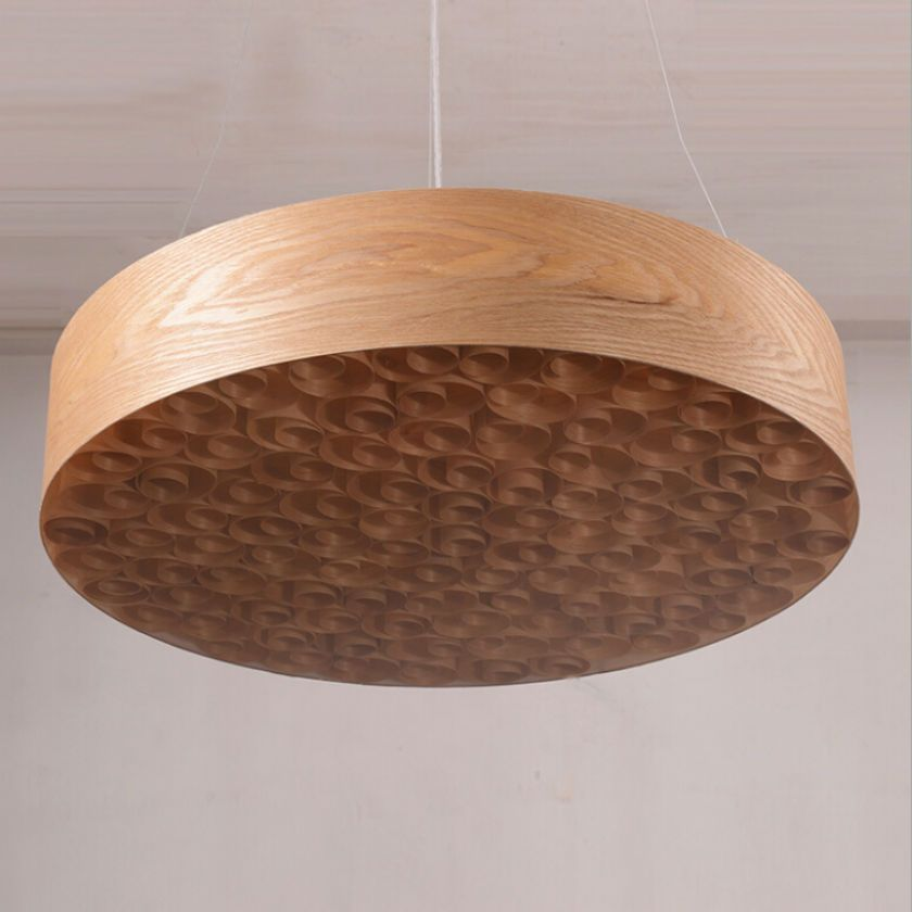 2017 Southeast Asian circinate round wood chandelier /dia60cm larger size bar stage living room LED circle pendant lamp 85V-260V