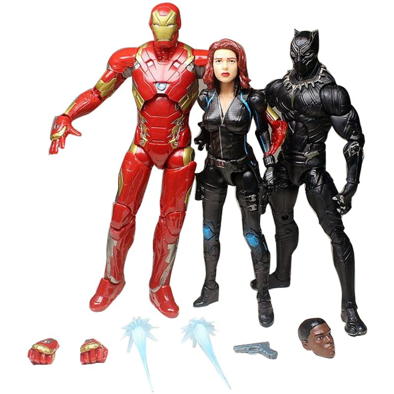 6''Marvel Action Figure Black Panthers and BLACK WIDOW Iron Man Anime Toy Civil War Super Hero PVC Doll Gifts The AVENGERS Gift