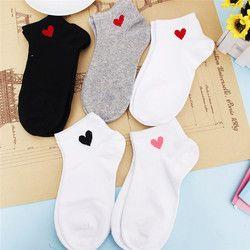 1 пара красных сердечек, Милые простые базовые женские носки для колледжа, теплые удобные хлопковые носки на весну и лето, бесплатная достав...
