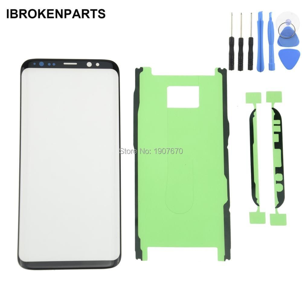 New Black OEM S8 plus Replacement Front Outer Screen Glass Lens with Adhesive For Samsung S8 Touch Screen Panel Digitizer+Tools