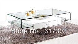 Acier inoxydable pied, tables à thé en verre avec tiroir, sidetable, table, meubles de salon, table basse, couleur verre peinture 219