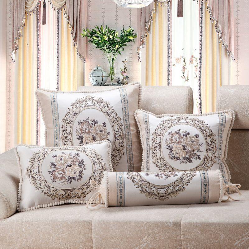 CURCYA luxe Jacquard Floral Beige canapé housse de coussin européen français pays taie d'oreiller décoration de maison carré Rectangle rond