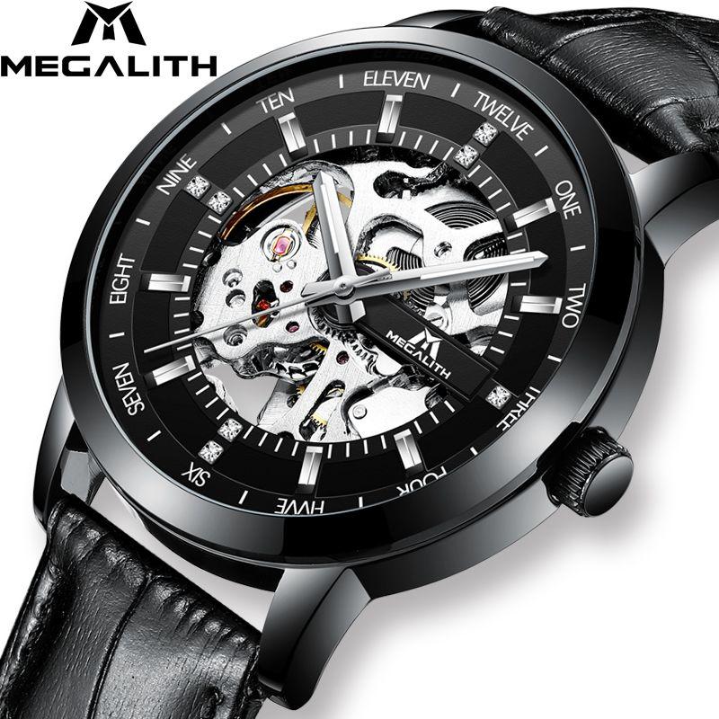 MEGALITH Mode Skeleton Automatische Uhr Männer Wasserdicht Schwarz Lederband Mechanische Uhr Männer Armbanduhr Uhr Montre Homme