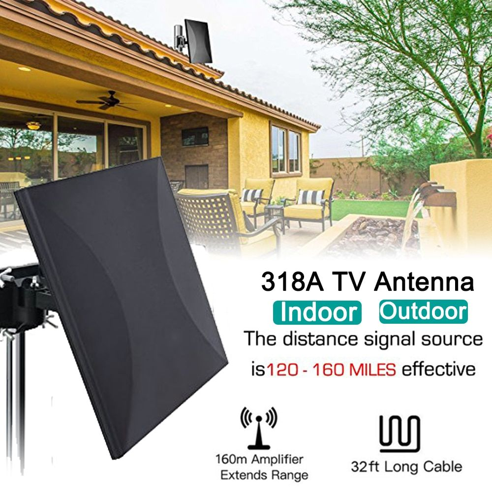 Satxtrem 318A Indoor/Outdoor DVB-T2 DVB-T TV Antenna 160 Miles HDTV Digital HDTV Cable For 32.8ft Coax Amplifier Signal Booster