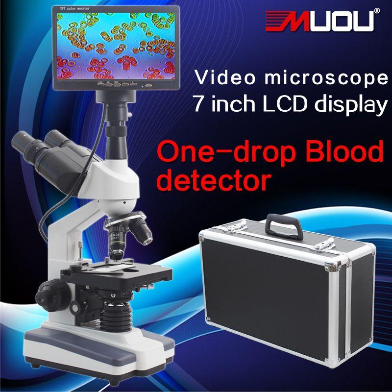Professional Digital Binocular Microscope 40-1600X 7-inch LCD screen sperm mites a drop of blood test instrument Biological