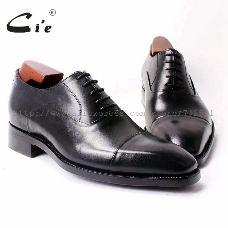 cie Square Cap Plain Toe Lace-Up Oxfords Black 100%Genuine Men Leather Shoe Bespoke Men Shoe Handmade Dress Shoe Goodyear OX322