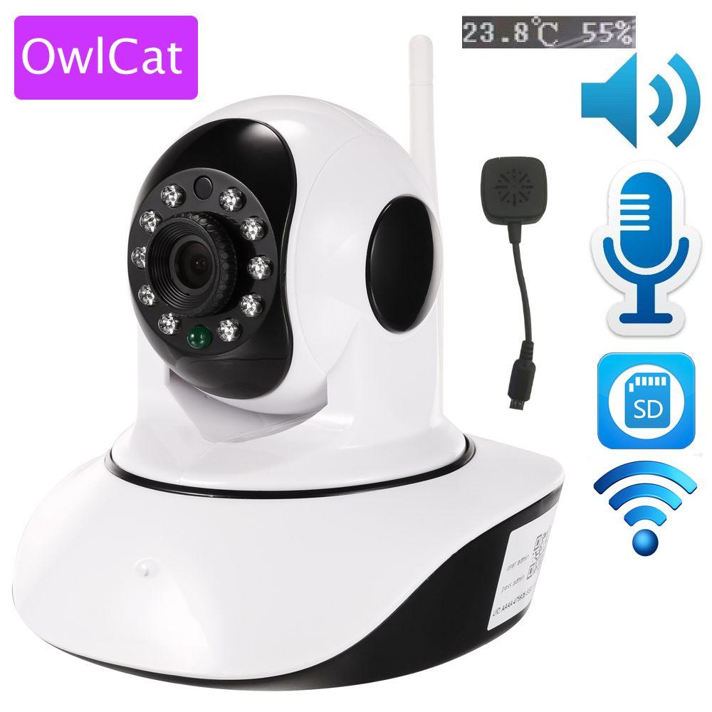 OwlCat sans fil 1080 p 720 p HD IP caméra WiFi dôme IR nuit P2P bébé moniteur Audio parler SD CCTV Onvif température capteur d'humidité