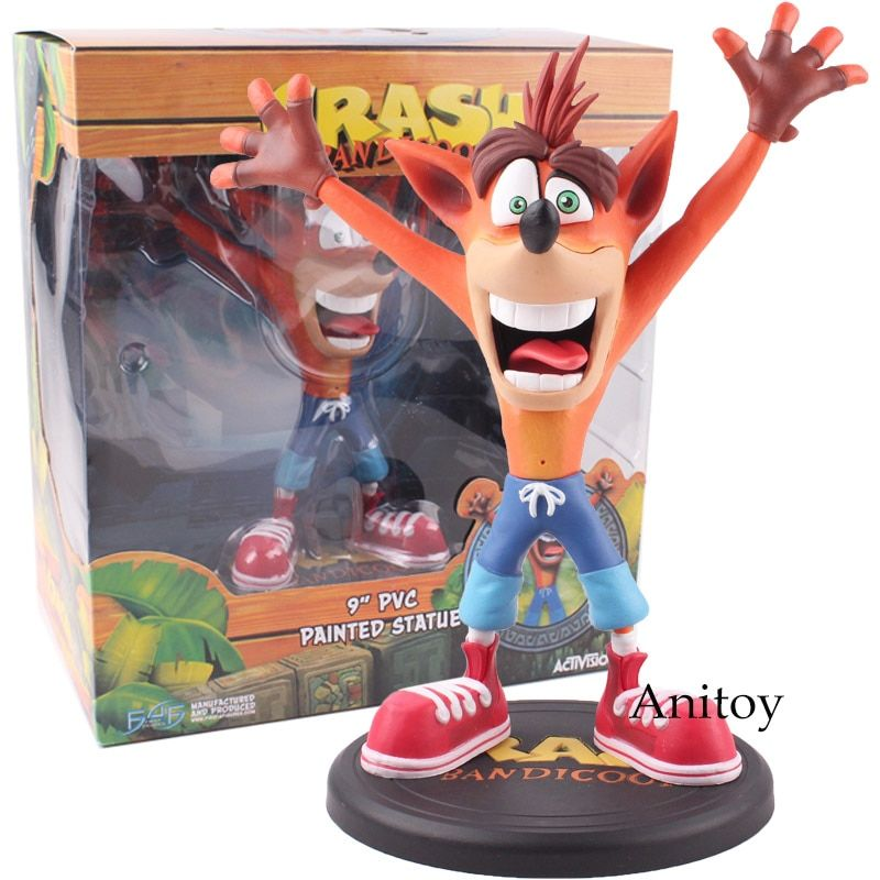 Anime Crash Bandicoot Action Figure Game Crash 9'' PVC Painted Statue Activision ACT PVC Collectible Model Toys 22.5cm KT4819