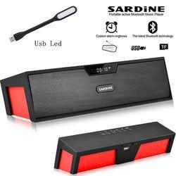 Большой мощности 10 Вт сардины Портативный беспроводной Bluetooth Динамик, стерео Саундбар TF fm-радио колонки сабвуфер для компьютера плеер