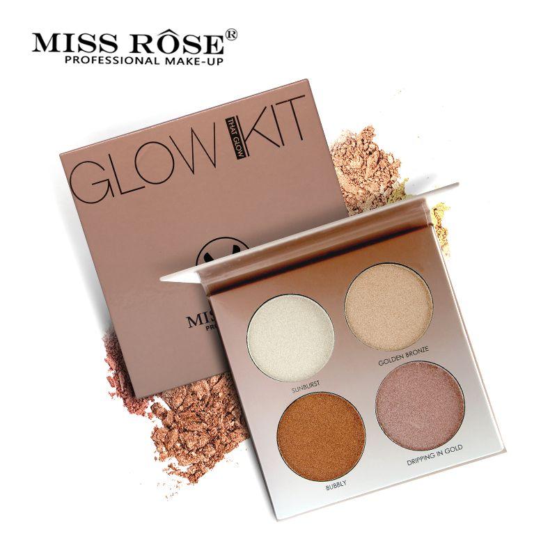 Mlle Rose 4 Couleurs Égayer Base Maquillage Lueur Kit Palette Surligneur Maquillage Illuminateur