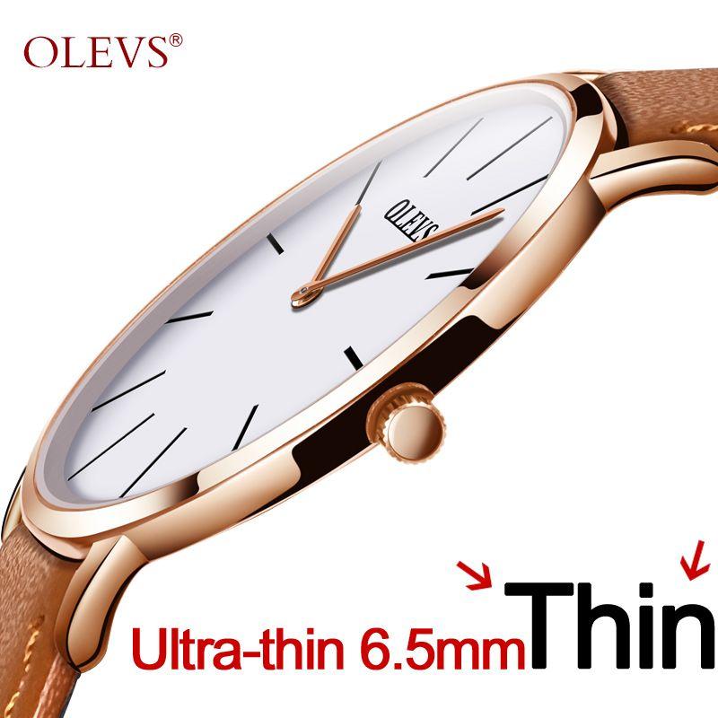 Hommes ultra mince Montre À Quartz OLEVS Top Marque De Luxe Montres Casual En Cuir D'affaires Montres Rose Étanche Homme Horloge Reloj
