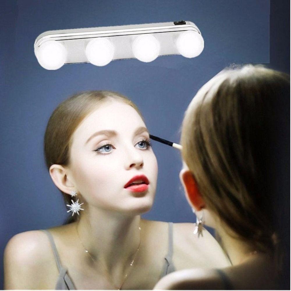 4 birne Make-Up Spiegel Licht Scheinwerfer Installiert Bequem Saugnapf Make-Up Lampe LED Spiegel Licht Batterie Powered Geschenk